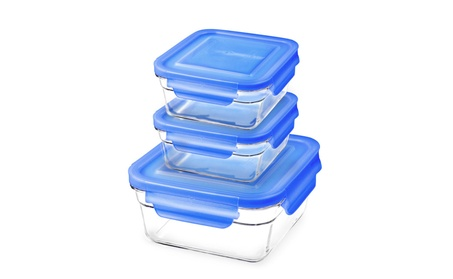Glasslock 6 Piece Blue Lid Oven Safe Food Storage Container Set 9782433b-4366-4c25-bf61-d3728a7f7058