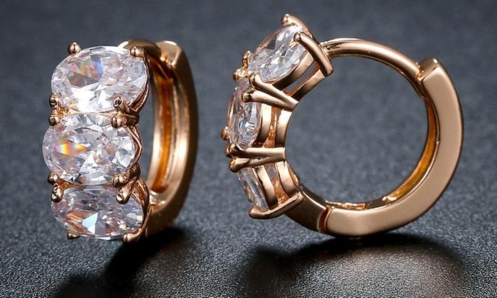 617bc3b24 Oval-Cut Swarovski Crystal Huggie-Hoop Earrings By Chantel Club | Groupon