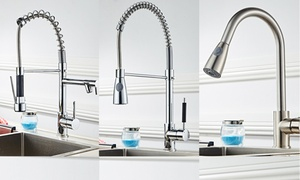 Home Stainless Chrome Kitchen Sink Faucet With Hot/Cold Mixer