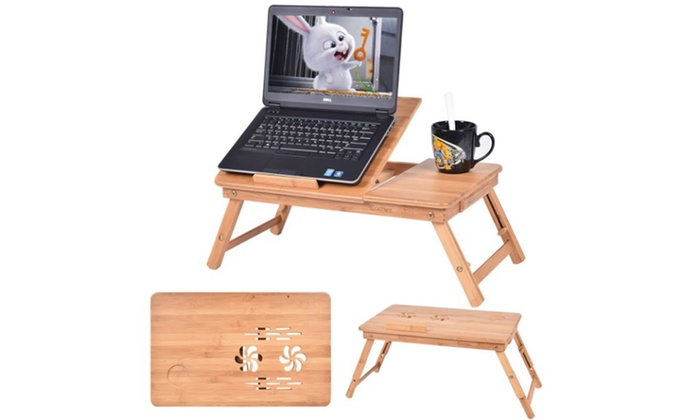 Portable Bamboo Laptop Desk Table Folding Breakfast Bed Serving Tray w// Drawer