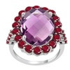 Orchid Jewelry 925 Sterling Silver Amethyst & Ruby Engagement Ring