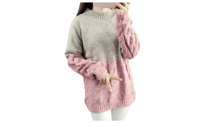 Women's Solid Long Sleeve Casual Straight Hem Pullovers