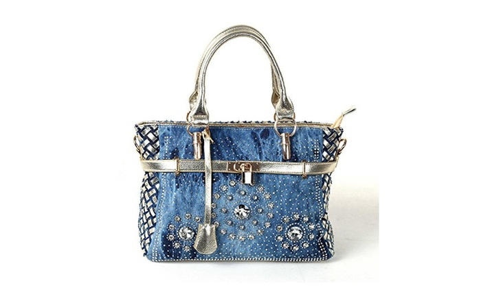 New Arrival Diamond Embroidered Denim Top Handle Bag Tote