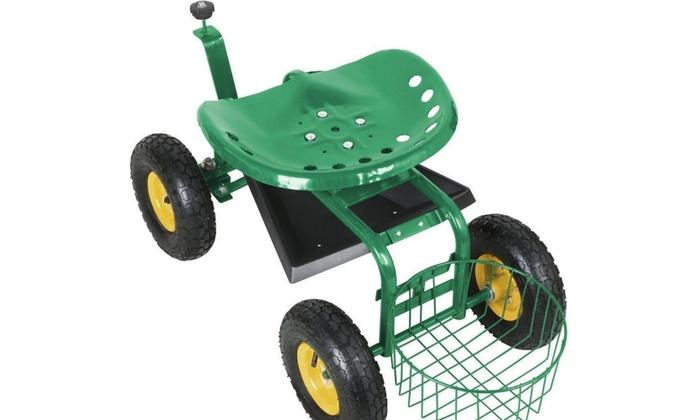 ... Green Heavy Duty Garden Cart Rolling Work Seat Tool Tray Yard NEW