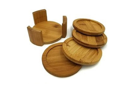 Bamboo Coasters Drink Beverage Round Set Cup Mat With Holder 4 Piece 8203e7ed-fa61-4803-a77f-56dab9957c47