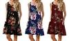 Women Summer Printed Sleeveless Dress Round Neck Pocket Vest Beach Skirt