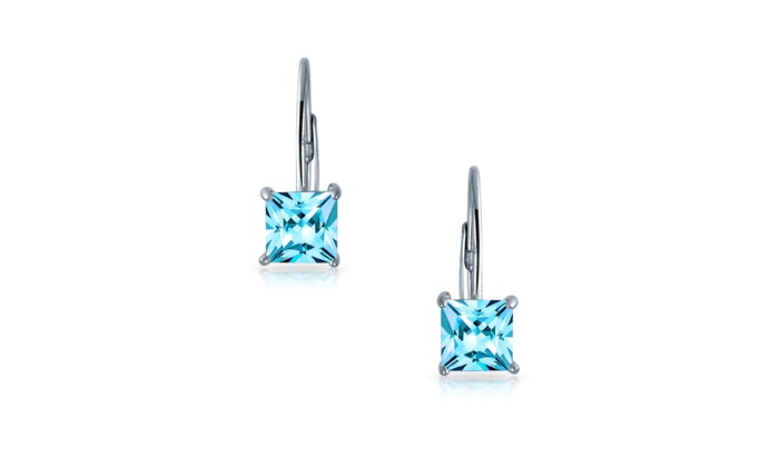 1cb852ca0 925 Silver Princess Cut Simulated Aquamarine CZ Drop Earrings Blue Cubic  Zirconia Sterling Silver
