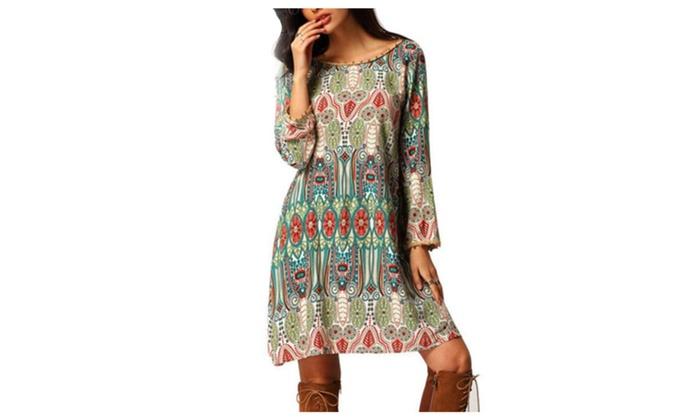 Long Sleeves Summer Bohemian Dresses Beach Dress