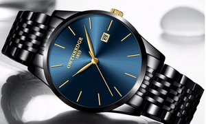 Men's Business Ultra Thin Quartz Stainless Steel Band Watches 6 Colors