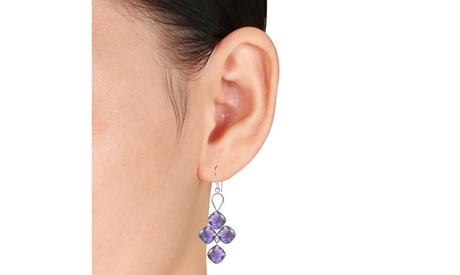 Orchid Jewelry 27 CTW amethyst sterling silver dangle earrings