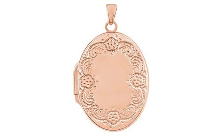 14K Rose Gold-Plated Sterling Silver Oval Locket 95da4fc3-382d-43d0-8730-eca5a7cffe94