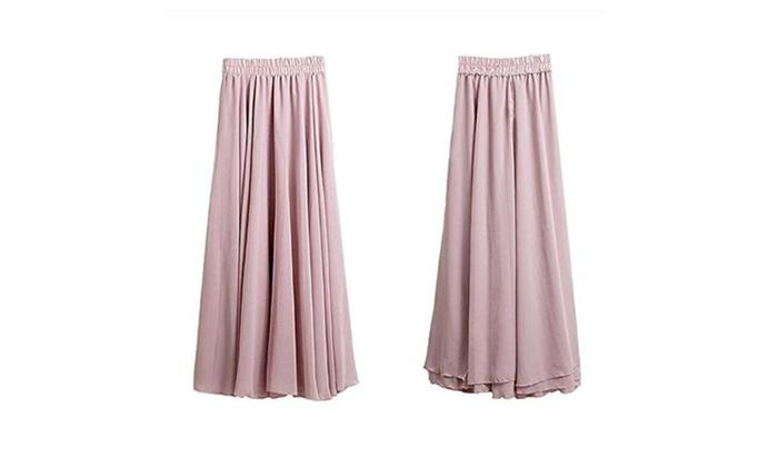 Women Bohemian Style Three Layers Chiffon Long Skirt