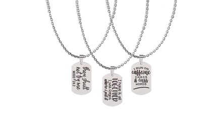 Fully Adjustable Snarky Tag Necklace By Pink Box - Chain Length 18 to 36 Inches