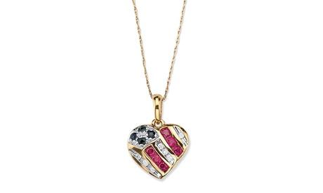 .55 TCW Sapphire and Ruby 10k Gold Heart Pendant bd3d5519-b0ba-4d6d-bacf-0e11bd295183