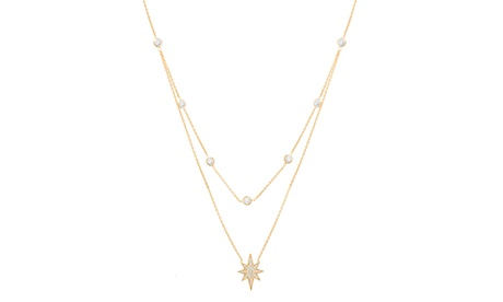 Sterling Silver CZ Starburst Double Layered Cable Chain Necklace 93123555-a515-4413-9112-23144d6245c2