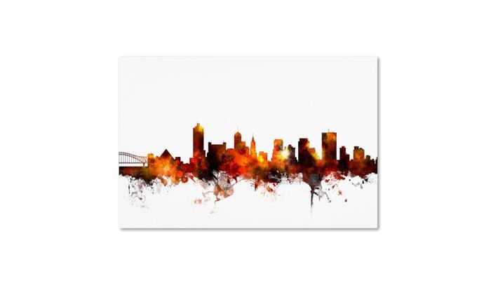 Michael tompsett 39 memphis tennessee skyline red 39 canvas for Michaels craft store memphis tn
