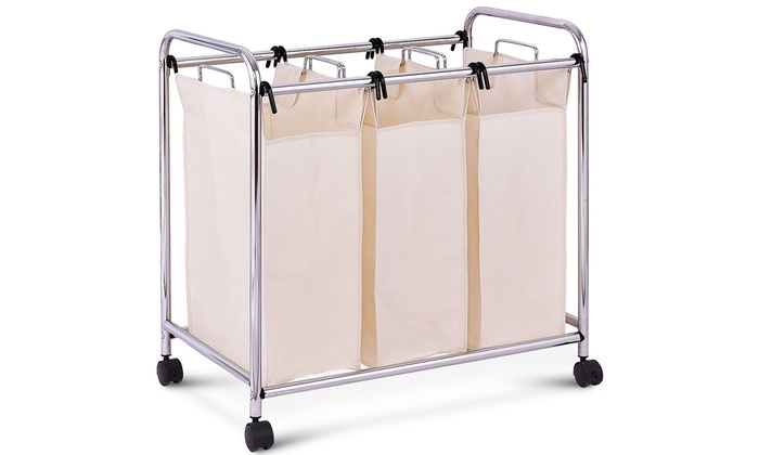 Laundry Cart Basket Triple Bag Sorter Bathroom Hamper Bins Clothes Storage Groupon