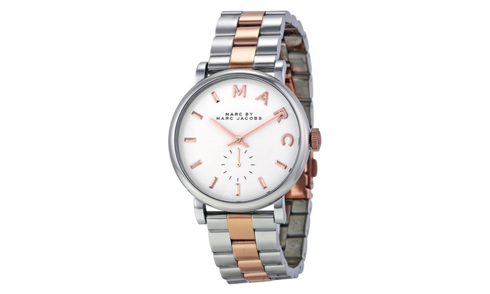 Marc Jacobs Womens Two Tone Baker Silver Rose Gold Watch Mbm3312