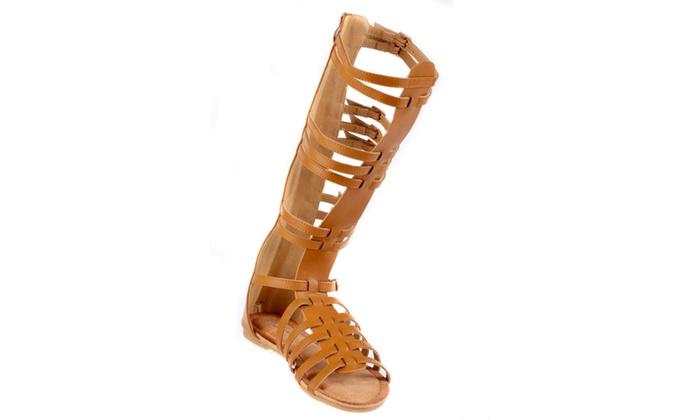 Xehar Women's Open Toe Knee High Strappy Flat Sandal
