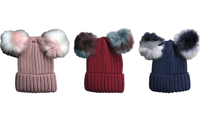 ceea9dc68b38b 3 Pack Womens Pom Pom Winter Beanies