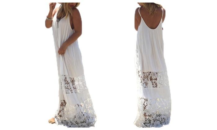 Lace V-neck Sling Loose Maxi Dress