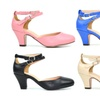 Women's Low Heel D'orsay Double Ankle Strap Pump