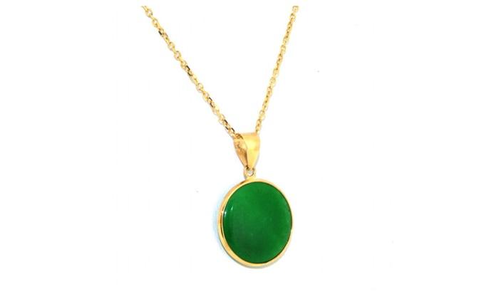 14k yellow gold green jade circular pendant groupon 14k yellow gold green jade circular pendant mozeypictures Choice Image