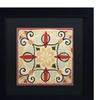 Daphne Brissonnet 'Bohemian Rooster Tile Square II' Matted Black Framed Art