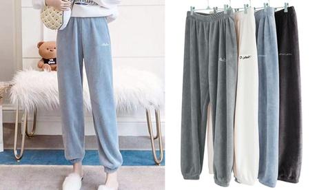 Women Winter Cozy Lounge Pants Warm Soft Fleece Jogger Pant
