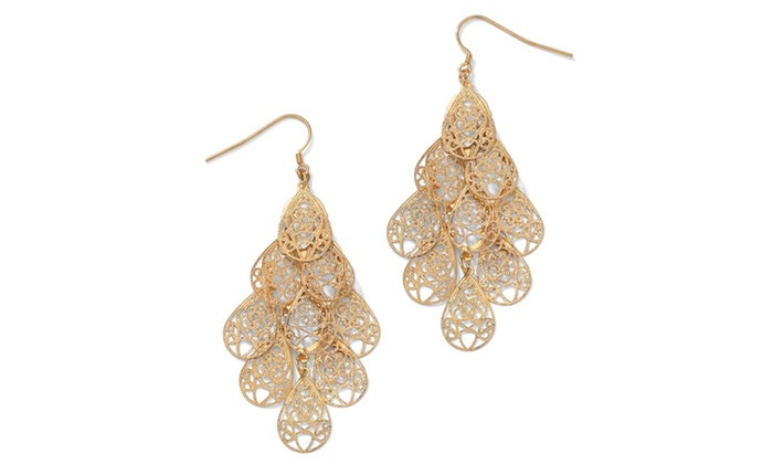 Filigree chandelier earrings in yellow gold tone groupon aloadofball Image collections