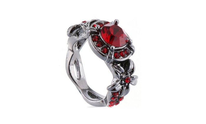 Amara Jewelry: Fashion Silver Plated Red Crystal Filled Engagement Ring (6,7,8)