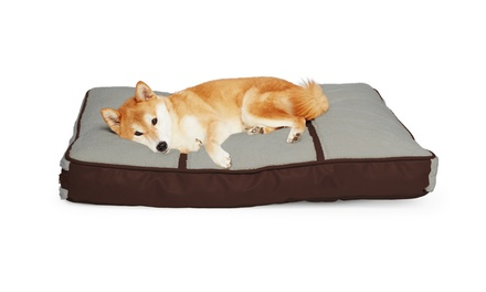 Plush Sherpa and Faux Leather Rectangular Pillowed Dog Bed