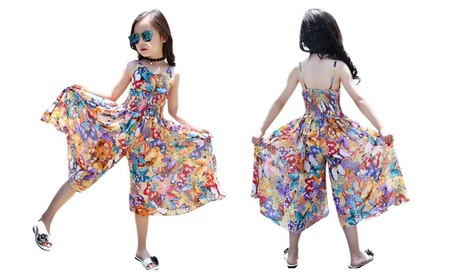 Girl's Vintage Floral Spaghetti Boho Romper Jumpsuit Dress