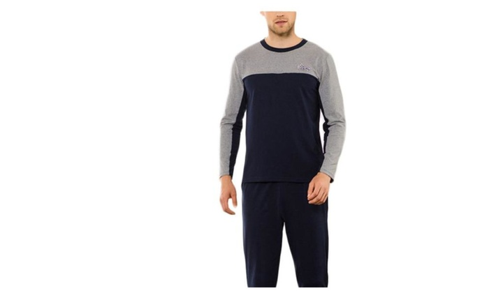 Men's Solid Colorblock Loose Fit Pull On Style Pajamas Set