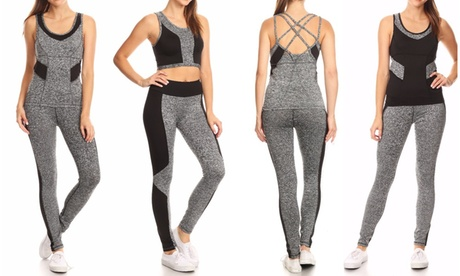 Style Clad Women's Active Color-Block Top and Leggings Set (2-Piece) ddc730a6-9cfa-49dc-8c93-bff14b3c0f7a