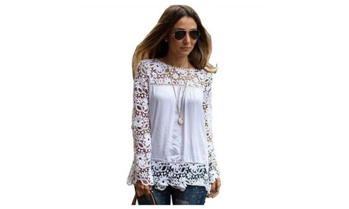 Fashion Sexy Women Lace Sleeve Chiffion Shirts