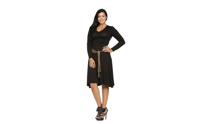 24/7 Comfort Apparel Women's Belted V-Neck Dress