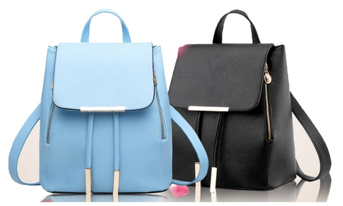 Women's Pu Leather Travel Laptop Double Shoulder Backpacks