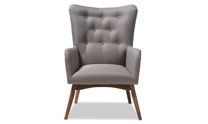 Stupendous Waldmann Grey Fabric Upholstered Lounge Chair Groupon Machost Co Dining Chair Design Ideas Machostcouk