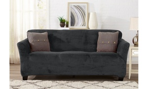 Velvet Plush Form-Fit Stretch Furniture Slipcover