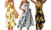 Womens Floral Sleeveless Boho Maxi Dress Lady Summer Mini Dress Sundress
