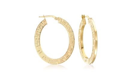 Roman Ingrain Classical Hoops in 14K Gold Plating Was: $99.99 Now: $10.99.