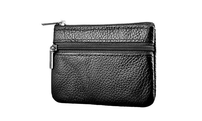 Zodaca Black Genuine Leather Mini Coin Bag Zip Zipper Wallet Case