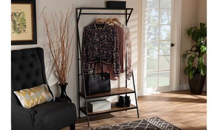Laima Distressed Wood and Black Metal Finished Entryway Coat Hanger