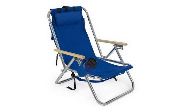 Backpack Beach Chair Folding Portable Chair Blue Solid Construction ...