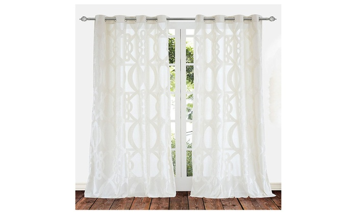 2 Panels Sheer Curtains Drapes White Cream Color 63 84 95 Inch Long