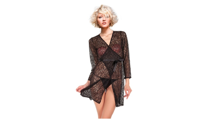 Miorre Sheer Black Paisley Lace Design Robe with Tie Waist