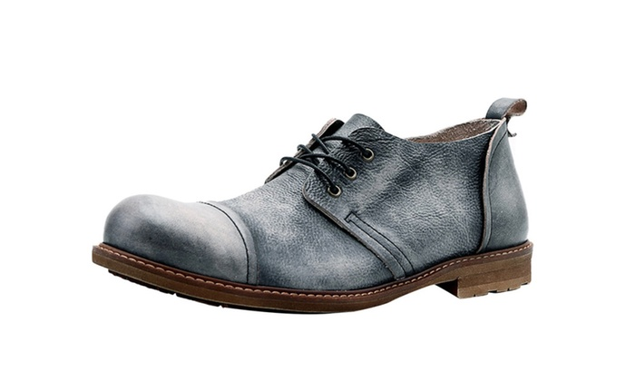 Men's Vintage Cowhide Lace Up Oxford Shoes