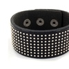 Black Leather and Small Silver Stud Bracelet