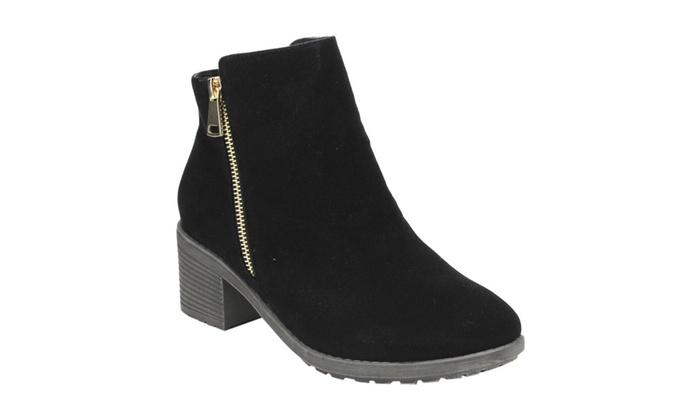 Beston DE02 Women Stacked Heel Side Zipper Plain Wear Ankle Booties
